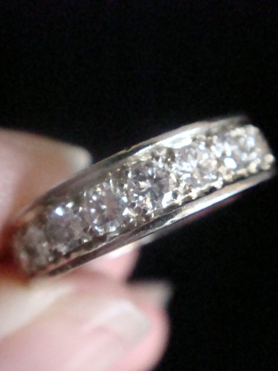 Image of HEAVY 18CT WHITE GOLD NATURAL DIAMOND 2.20CT FULL ETERNITY RING SIZE K 1/2