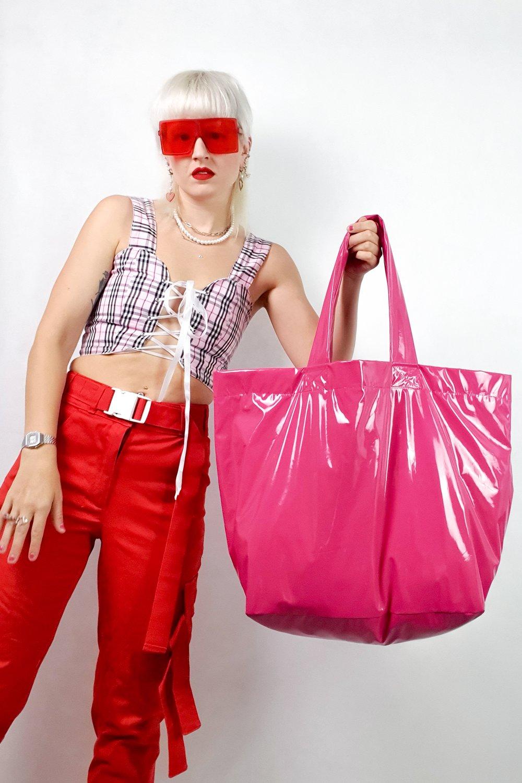 Image of pink PVC GIGA purse