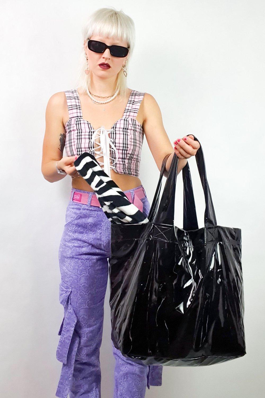 Image of black PVC GIGA purse