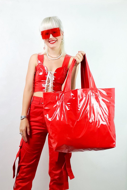 Image of red PVC GIGA purse