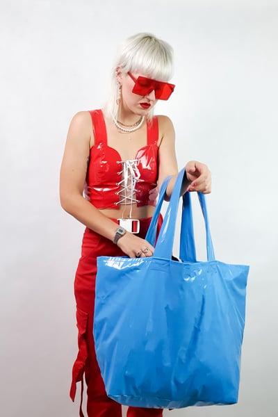 Image of blue PVC GIGA purse