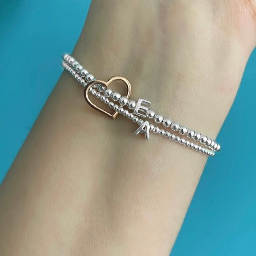 Image of Sterling Silver Double Connector Initial Bracelet