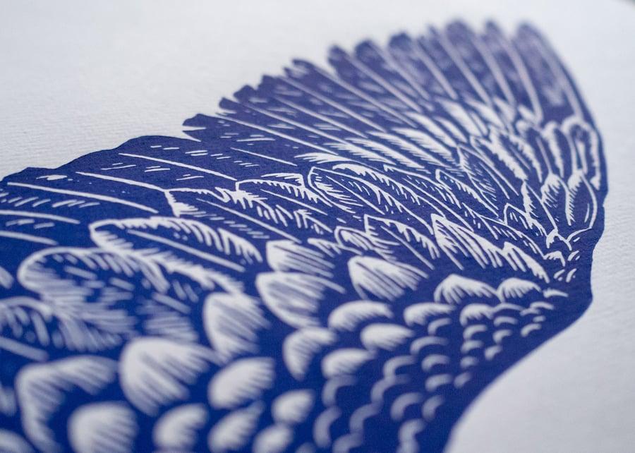 Image of Blauracke Linoprint Blue