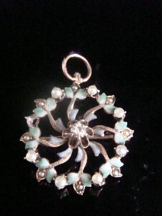 Image of EDWARDIAN 9CT ENAMEL FLOWER WITH CULTURED PEARL DIAMOND NECKLACE & BROOCH