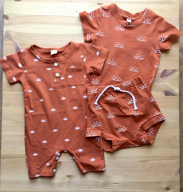 Image of Toddler Terracotta Sunset Romper or 2 piece Shorts & Shirt