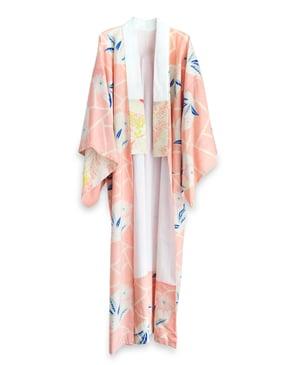 Image of Kimono af uld med tryk af shibori og blomster - vendbar