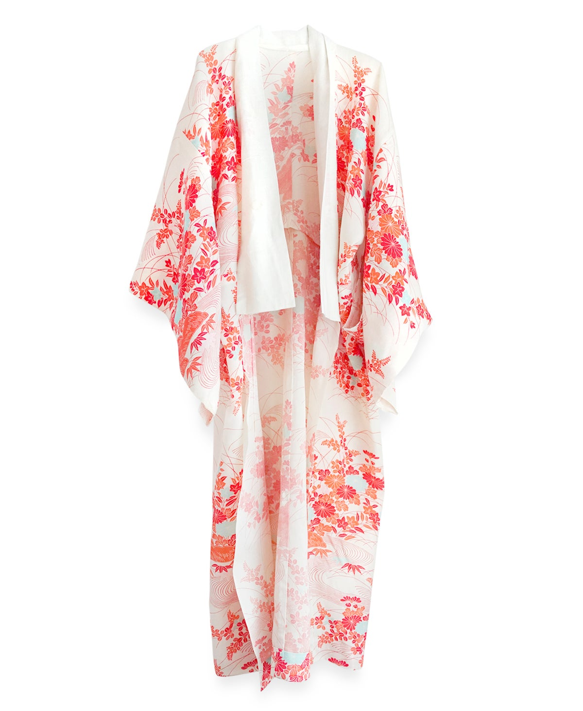 Image of Blomstret silkekimono med krysantemumblomster