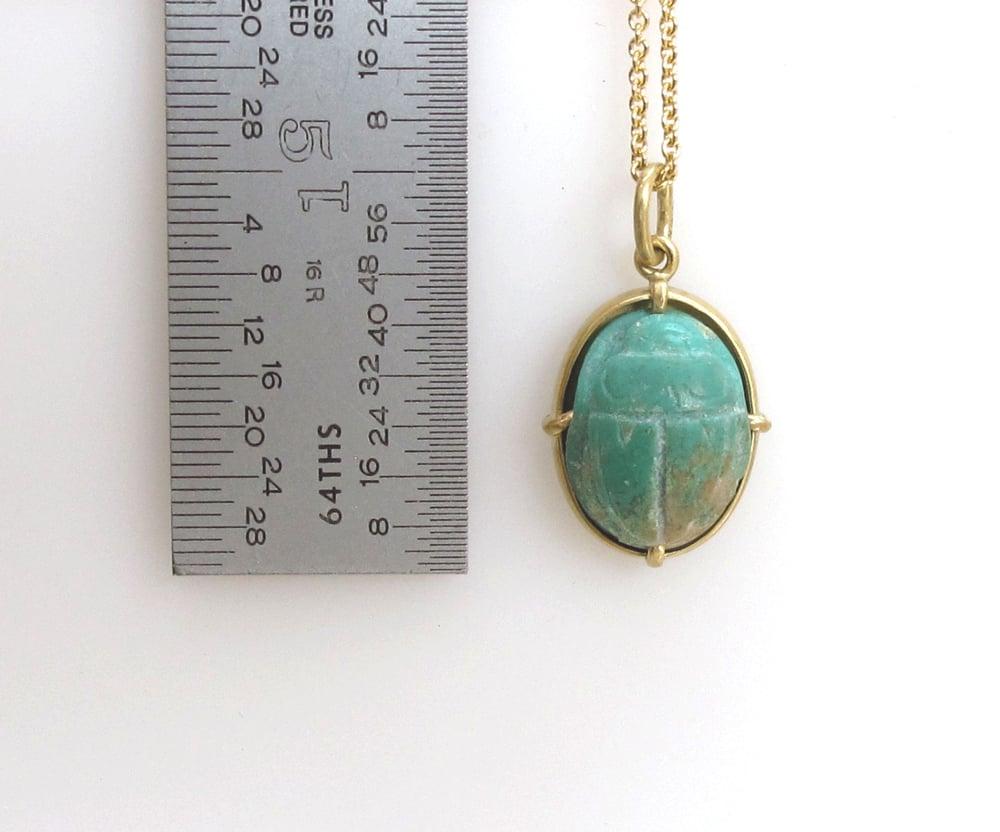 Image of Turquoise Scarab Pendant Charm 18k Gold