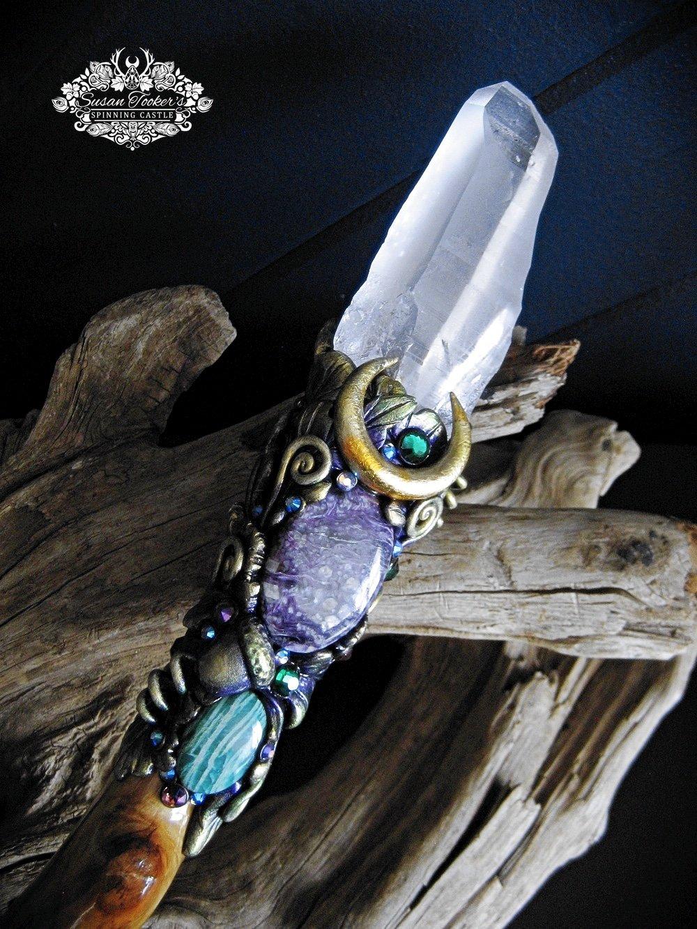 Image of QUEENE TITIANA - Magic Crystal Wand Lemurian Quartz Charoite Amethyst Amazonite Witchcraft Witch Art