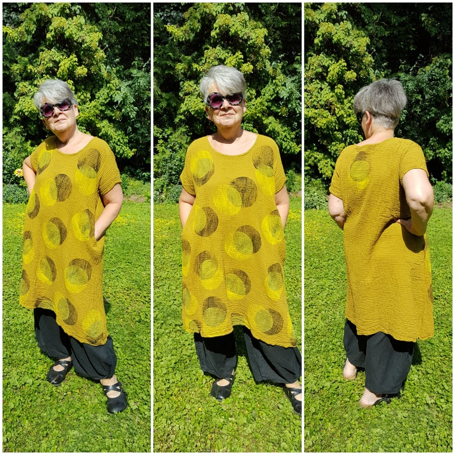 Image of blockprinted dress, mustard