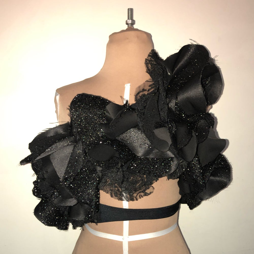 Image of Funeral ruffle cut out top
