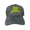 """1 of 1 Charcoal Heather """"Never Stop Curating"""" in Neon"""