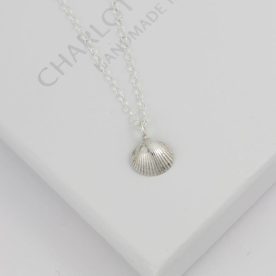 Image of Silver cockle shell necklace