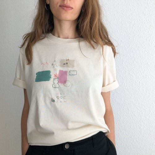 Image of Colors and shapes exploration - intuitive hand embroidery and painting on organic cotton tshirt