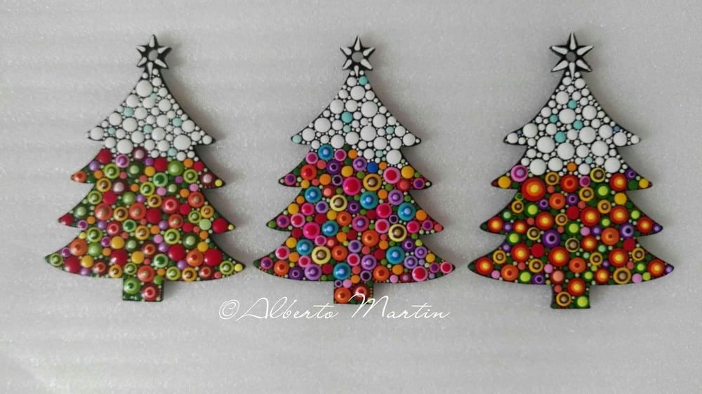 Image of (Number 28). New Christmas tree ornaments - Dot art Christmas decor. Set of 3.