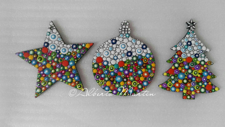 Image of (Number 29). New Christmas tree ornaments - Dot art Christmas decor. Set of 3.