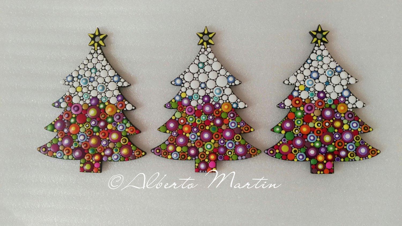 Image of (Number 31). New Christmas tree ornaments - Dot art Christmas decor. Set of 3.