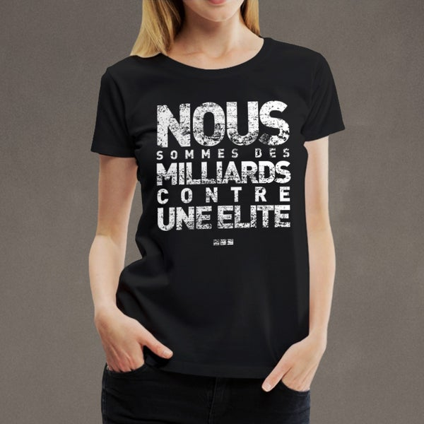 "Image of T-shirt girly noir ""Des milliards"""