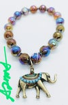 """Original """"Multicolor Agate Crystal Faceted Beads w/ Elephant Charm Stretch Bracelet"""