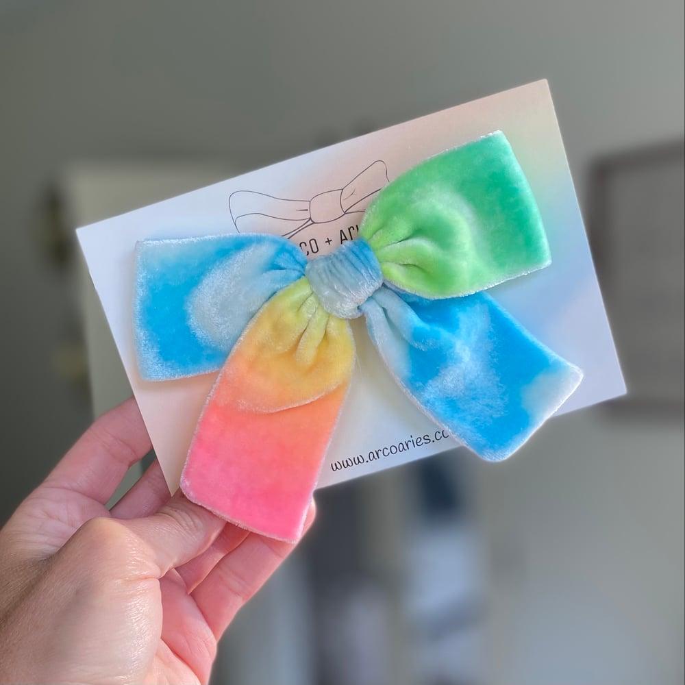 Image of Light cloudy LOTI custom dyed silk velvet bows
