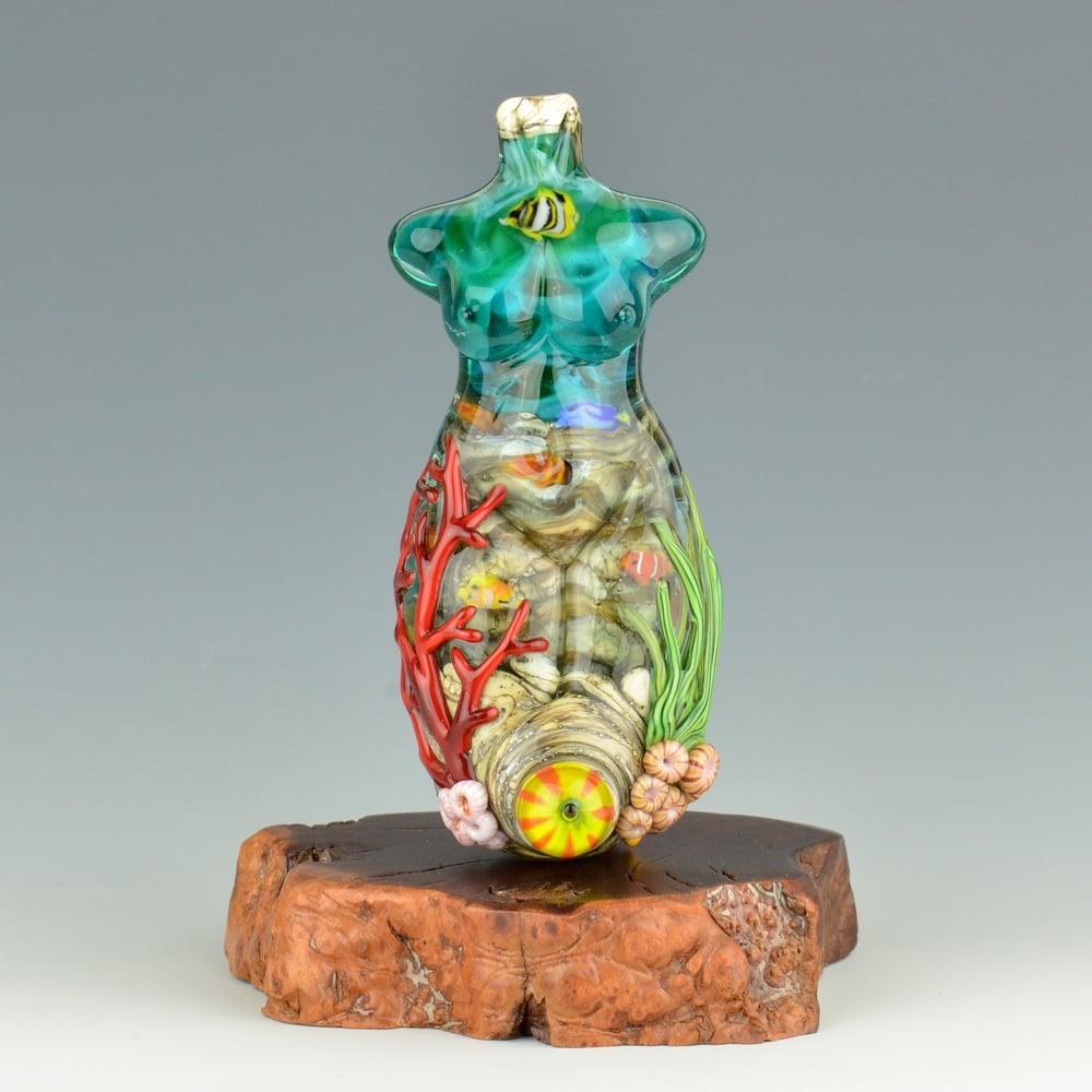 Image of XXXXL. Tall Coral Reef Goddess - Flamwork Glass Sculpture
