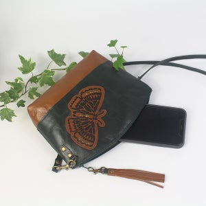 Image of Curved Leather Dance Bag - Butterfly Green & Tan