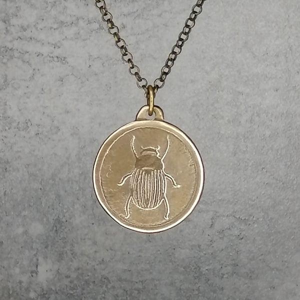 Image of Bronze Egyptian Scarab Beetle Pendant