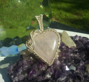 Image of Rainbow Rose Quartz Heart