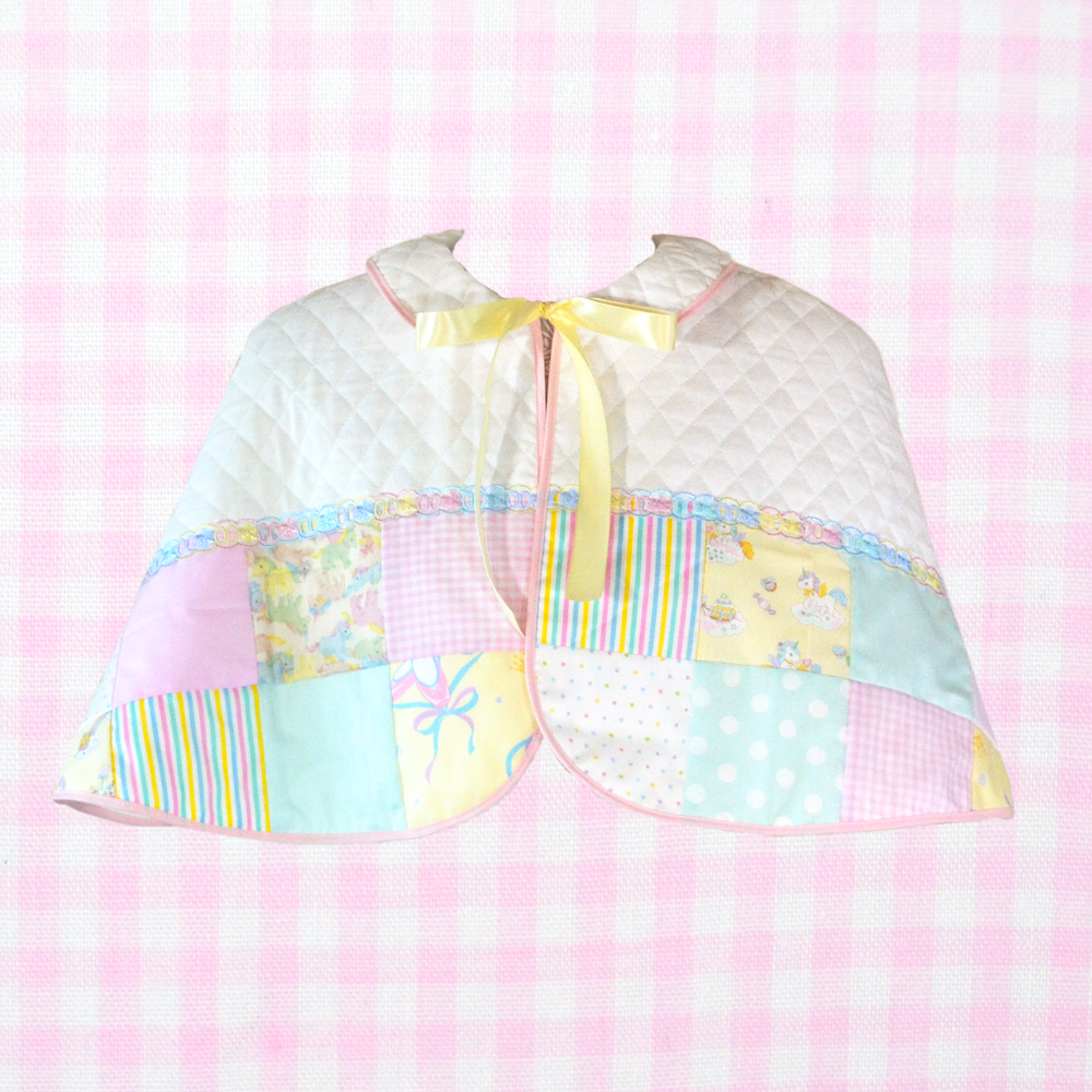 Quilted Capelet: Pink x Mint x Yellow
