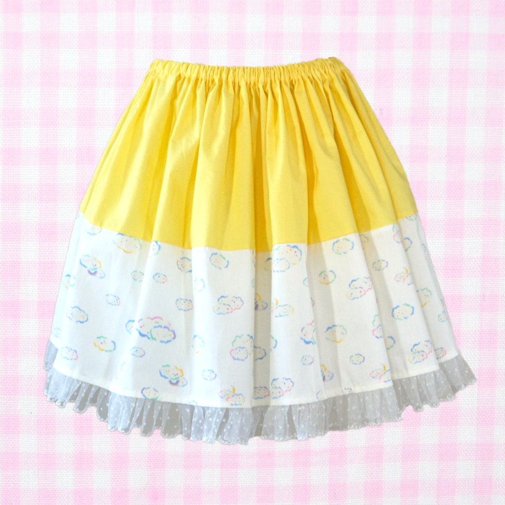 Two Tone Skirt - Yellow x Clouds