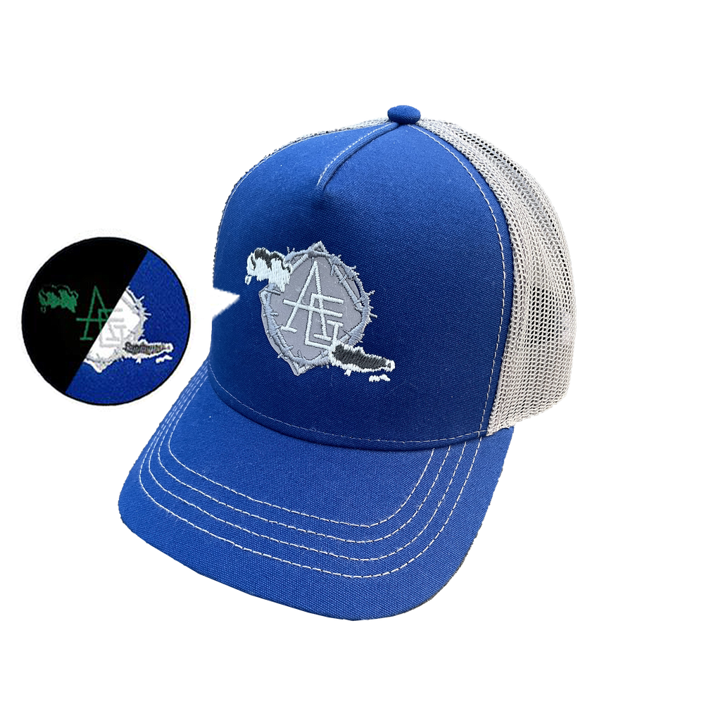 Image of Reflective & glow in the dark Royal blue trucker hat
