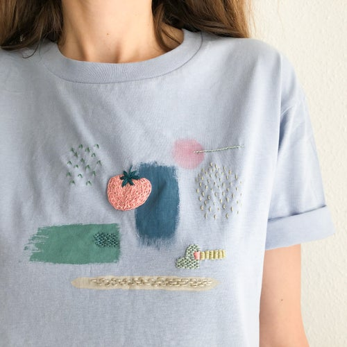 Image of Awayuki strawberry - intuitive hand embroidery and painting on organic cotton tshirt