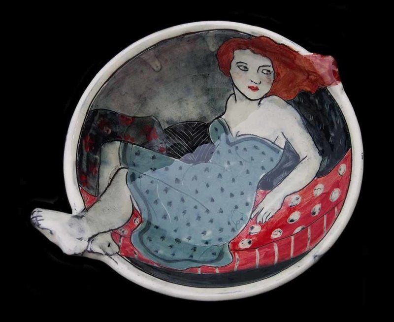 Image of LOUISE GARDELLE - CERAMIC BOWL WITH PROTRUDING HAIR & FEET - GREY DRESS
