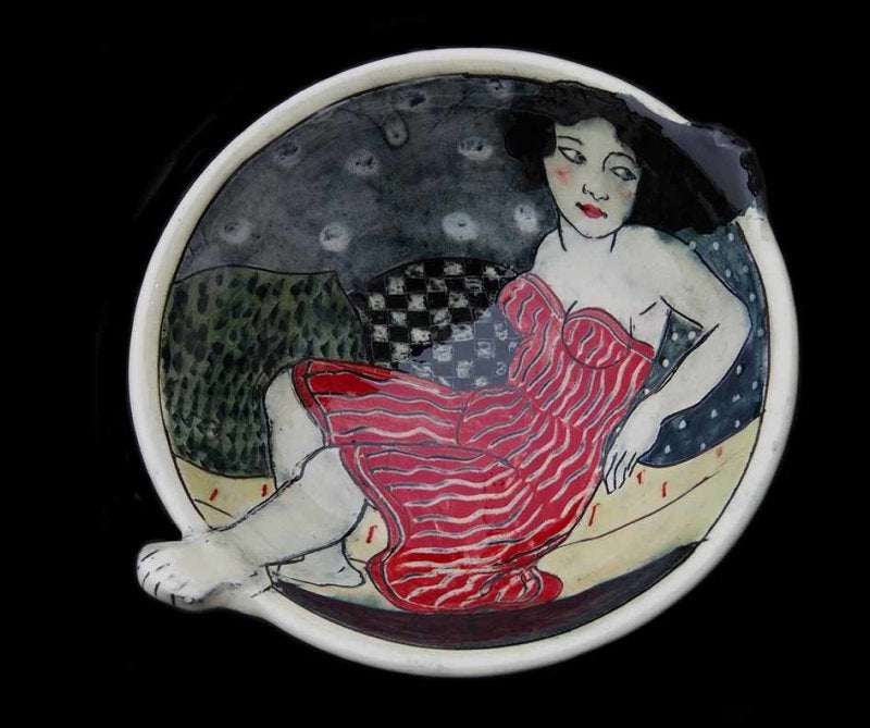 Image of LOUISE GARDELLE -  CERAMIC BOWL WITH PROTRUDING HEAD & FEET - RED DRESS