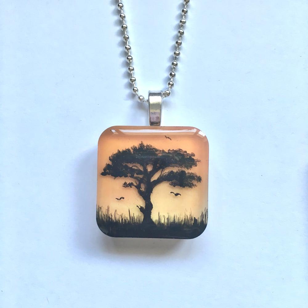Tree of Life Sunset Resin Pendant - Orange