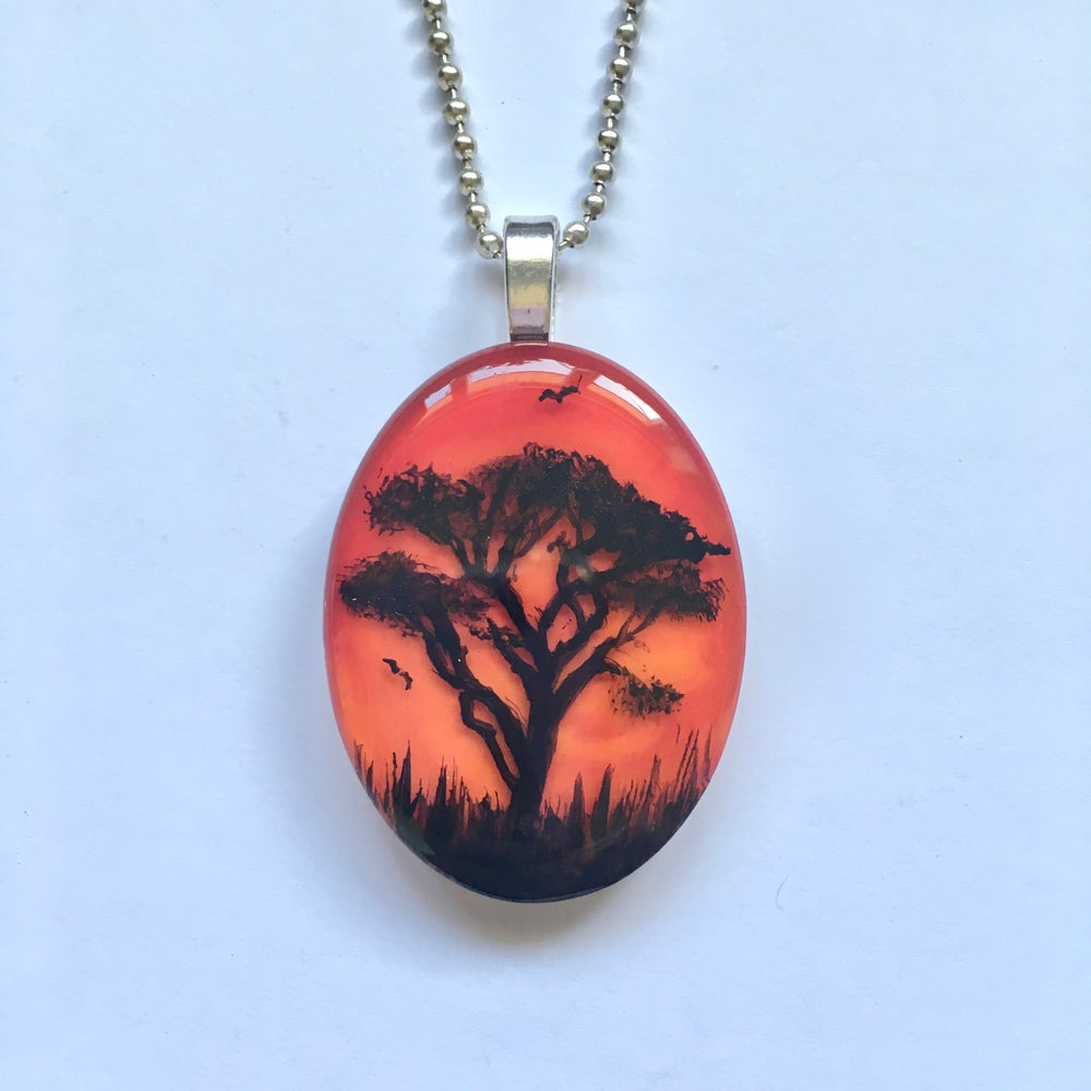 Tree of Life Sunset Resin Pendant - Red
