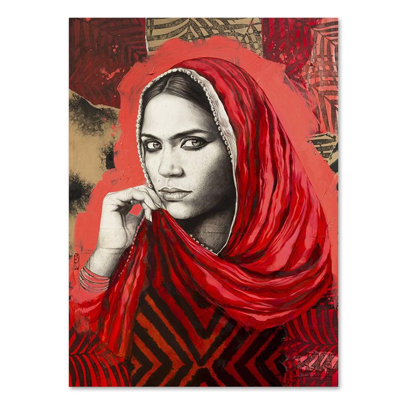 """Image of Canva Art Print - """"Mamta en rouge"""""""