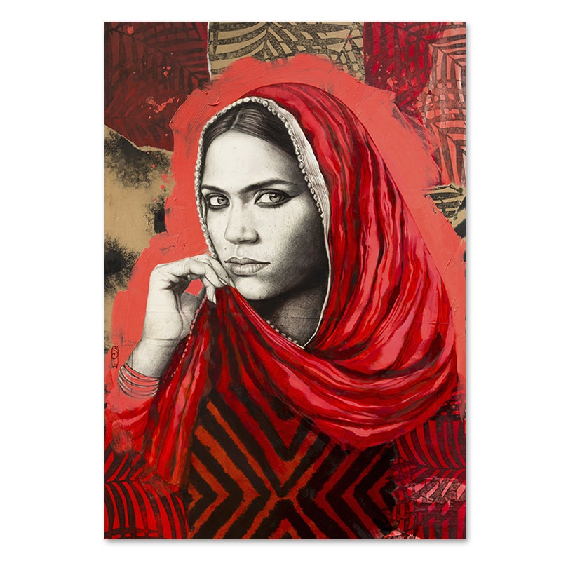 "Image of Paper Art Print - ""Mamta en rouge"""