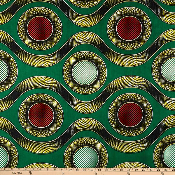 Image of Ankara Print Lindani Green/Orange Shade 30cm