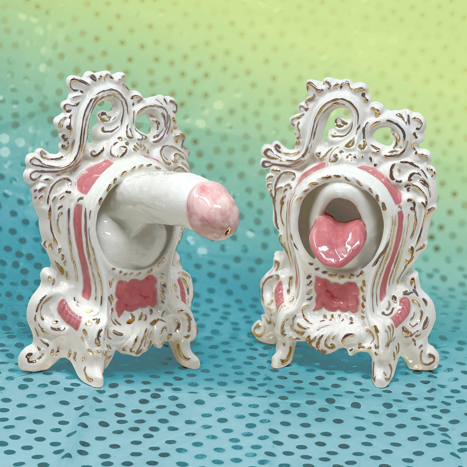 Image of Rococo Gloryhole Bookends with 22kt Gold (Pair)