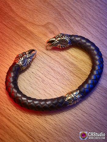 Image of Odin's Ravens - Huginn & Muninn / Leather Torc Bracelet