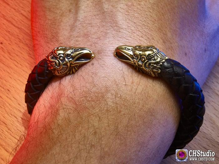 Odin's Ravens - Huginn & Muninn / Leather Torc Bracelet