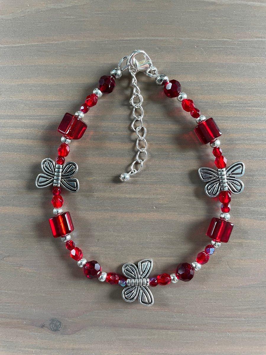 Image of Red Butterfly Bracelet