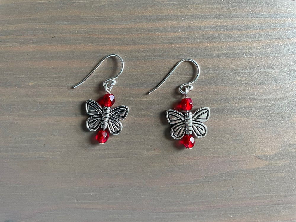 Image of Red Butterfly Earrings