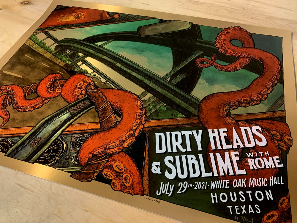 """Dirty Heads & Sublime With Rome (Houston, Texas) • L.E. Official Poster (18"""" x 24"""")"""