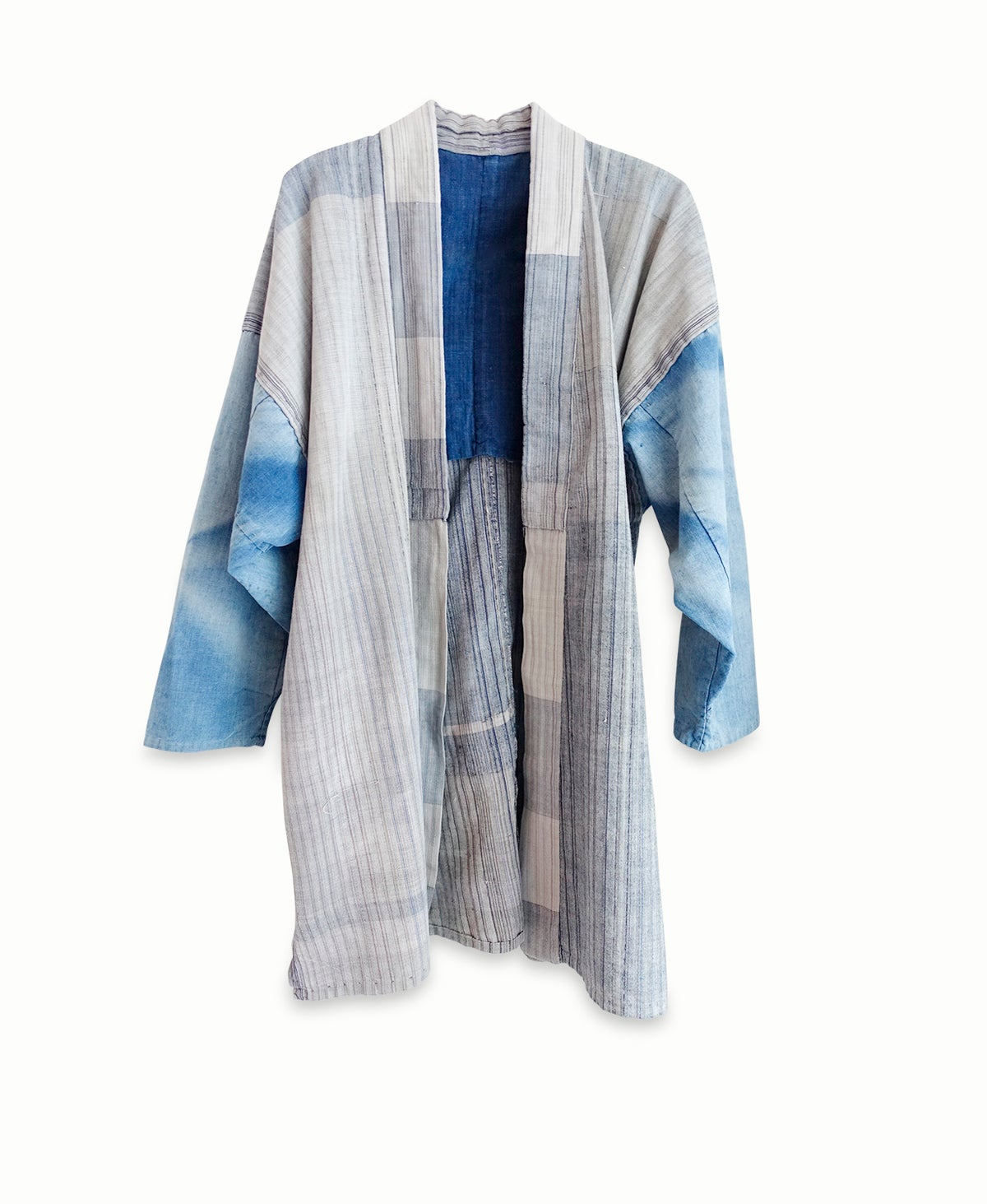 Image of Blå kimonojakke af bomuld indfarvet i blå Ai-zome
