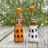 Mini Ceramic Tower Houses with Balloons
