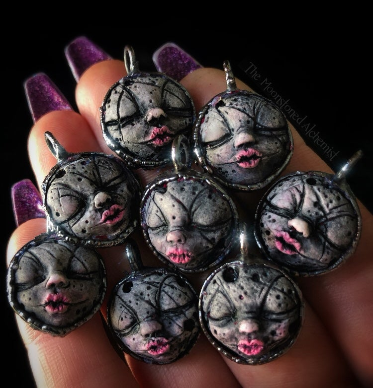 Image of Hand Sculpted Moonie Amulets set in copper