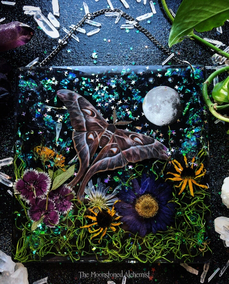 Image of 55% OFF LG Moth & Botanical Plaque with chain