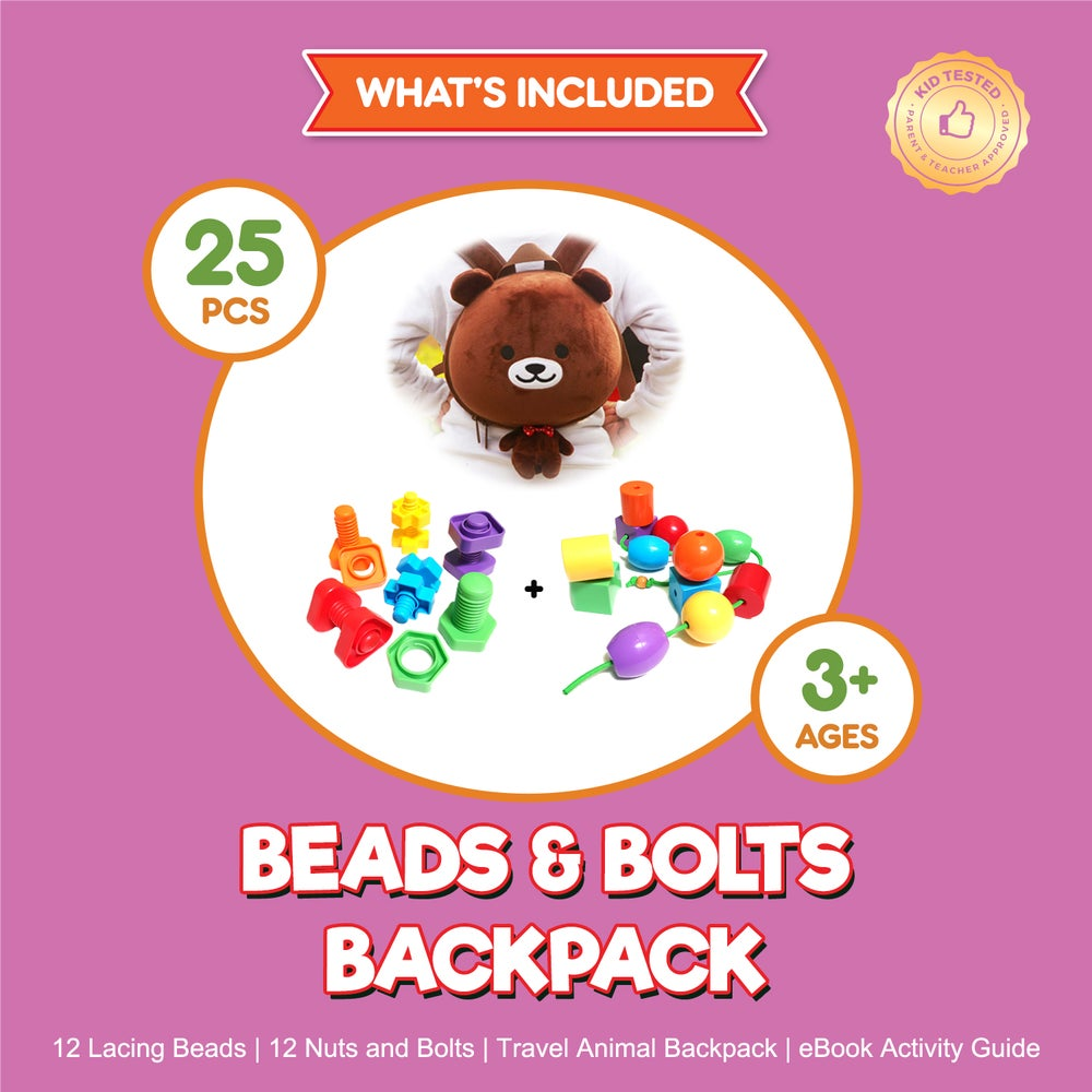 Image of Bear Backpack with Lacing Beads & Nuts and Bolts